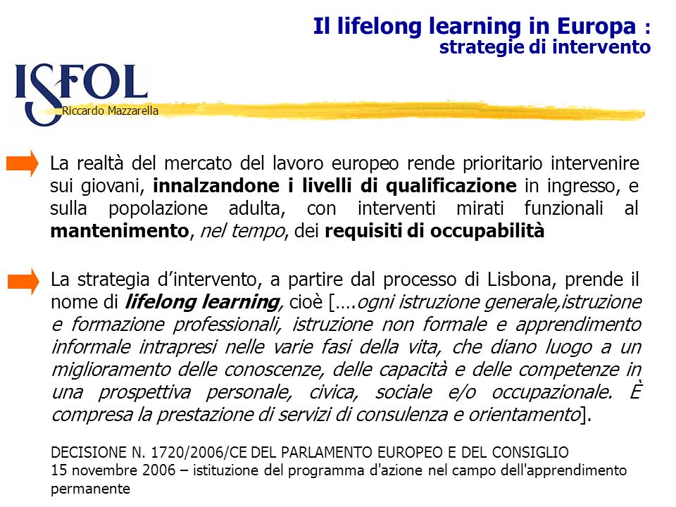 Il lifelong learning in Europa : strategie di intervento