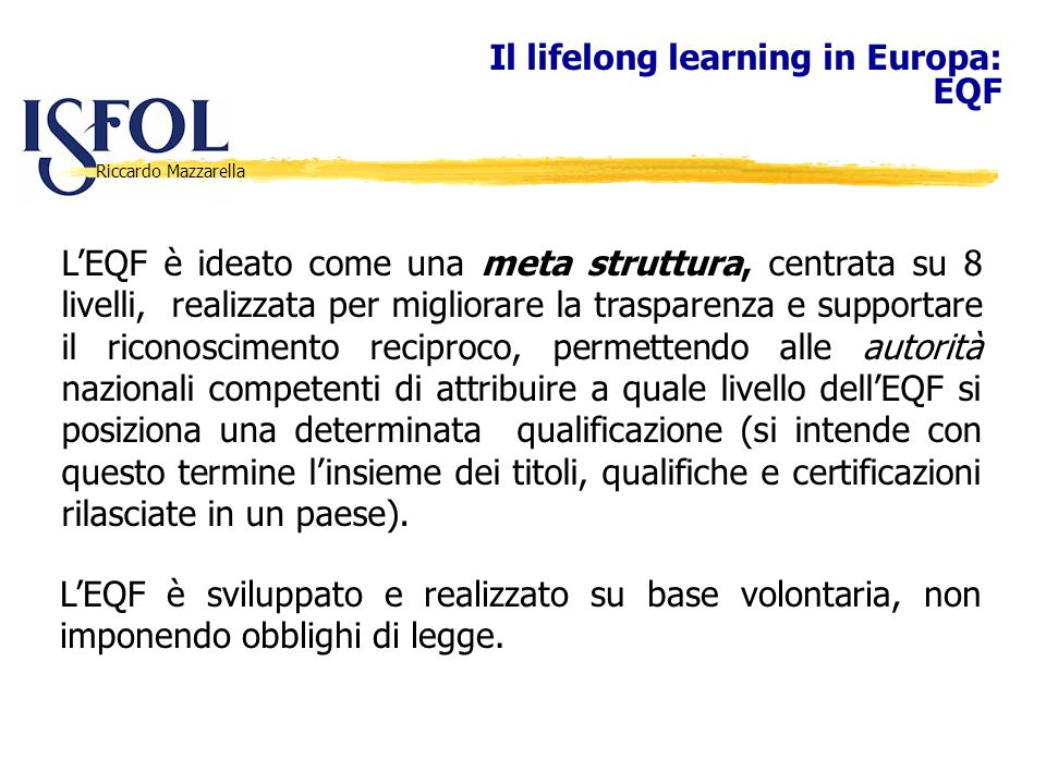 Il lifelong learning in Europa: EQF