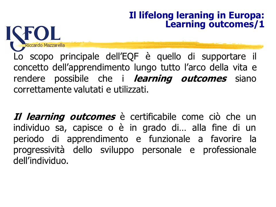 Il lifelong leraning in Europa: Learning outcomes/1