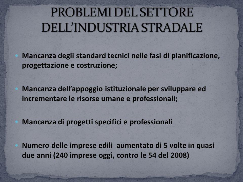 PROBLEMI DEL SETTORE DELL'INDUSTRIA STRADALE