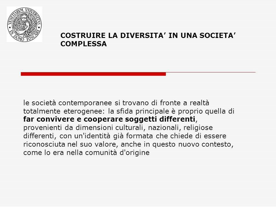COSTRUIRE LA DIVERSITA' IN UNA SOCIETA' COMPLESSA