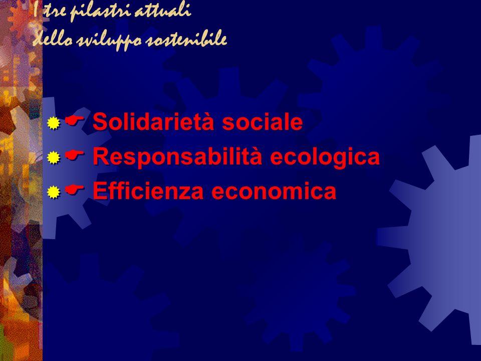 I tre pilastri attuali dello sviluppo sostenibile