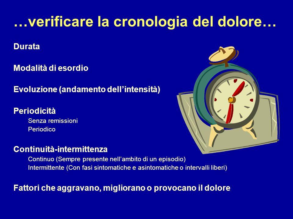 …verificare la cronologia del dolore…