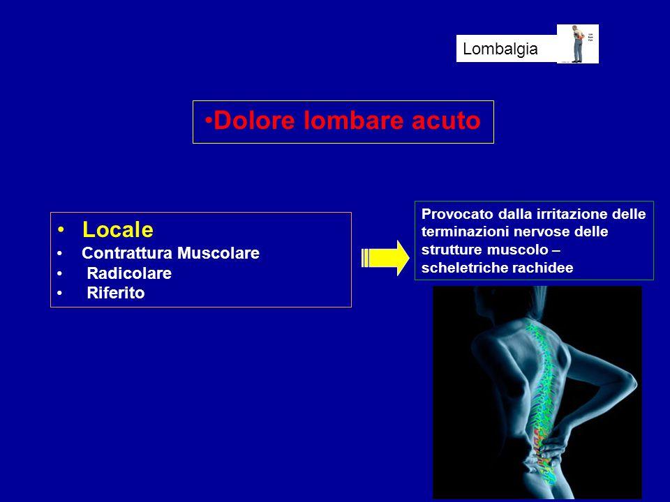 Dolore lombare acuto Locale Lombalgia Contrattura Muscolare Radicolare