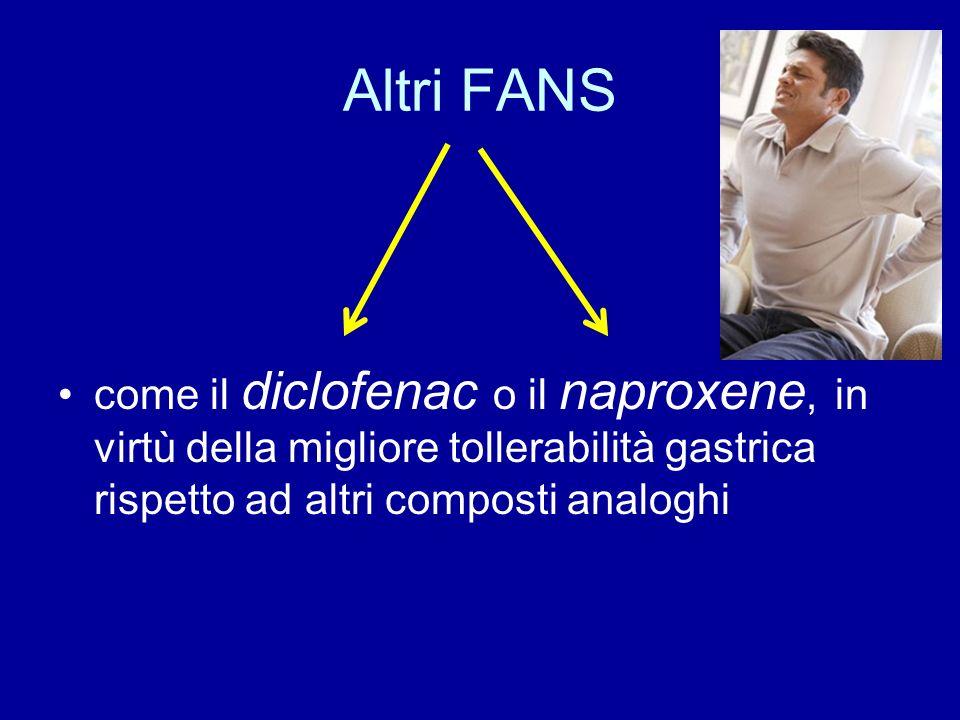Altri FANS come il diclofenac o il naproxene, in virtù della migliore tollerabilità gastrica rispetto ad altri composti analoghi.