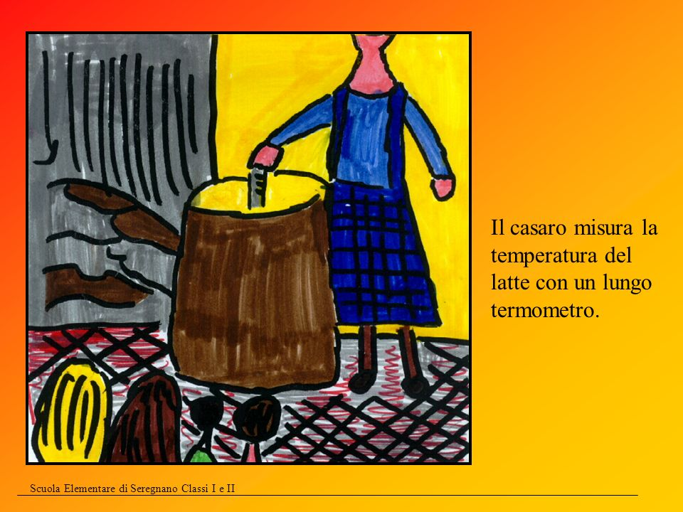 Il casaro misura la temperatura del latte con un lungo termometro.
