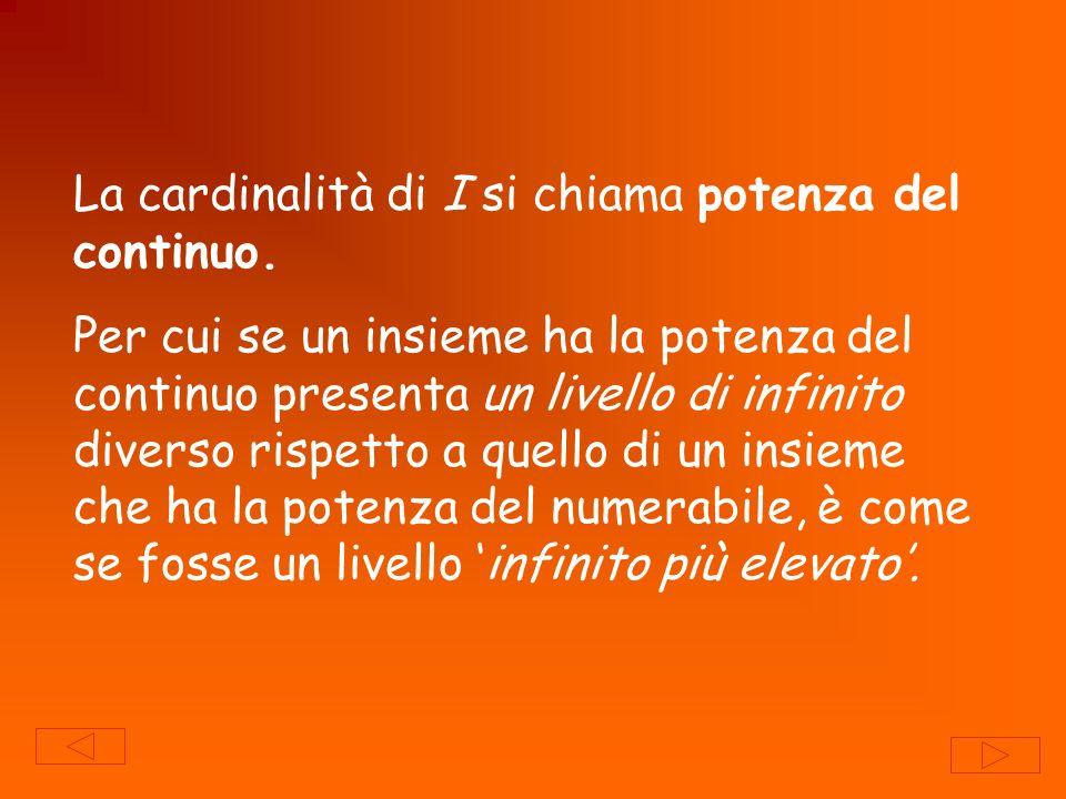 La cardinalità di I si chiama potenza del continuo.