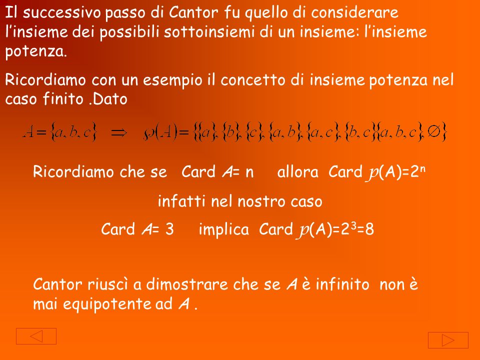 Ricordiamo che se Card A= n allora Card p(A)=2n
