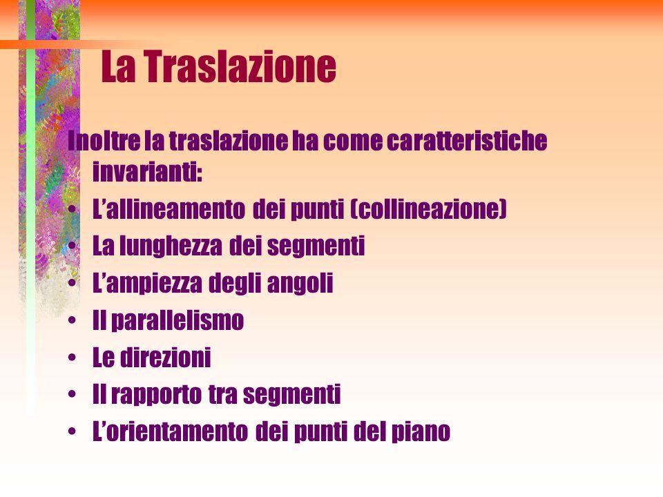 La Traslazione Inoltre la traslazione ha come caratteristiche invarianti: L'allineamento dei punti (collineazione)