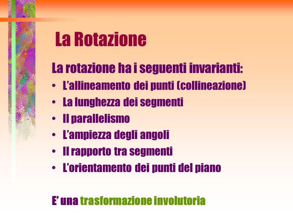 La Rotazione La rotazione ha i seguenti invarianti: