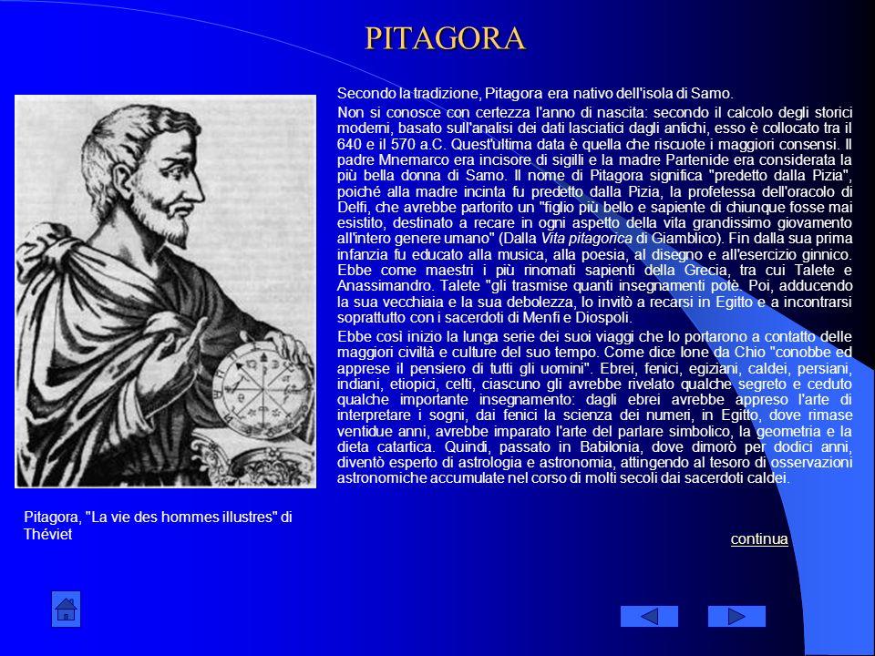 PITAGORA Secondo la tradizione, Pitagora era nativo dell isola di Samo.