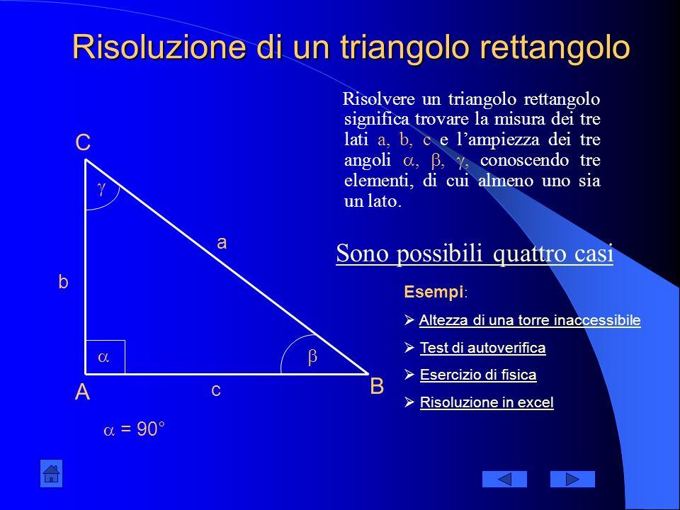 Risoluzione di un triangolo rettangolo