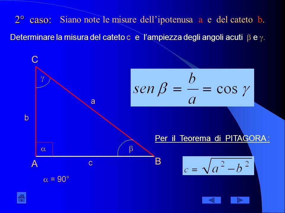 2° caso: Siano note le misure dell'ipotenusa a e del cateto b. C B A