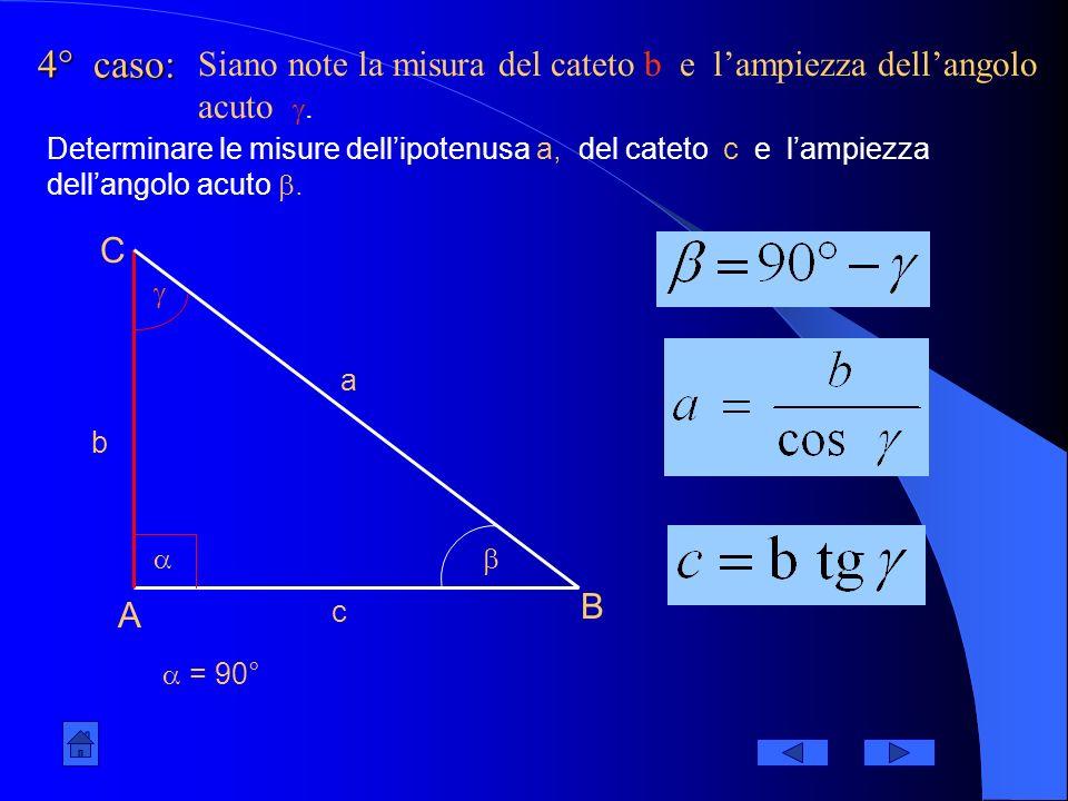 4° caso: Siano note la misura del cateto b e l'ampiezza dell'angolo acuto .