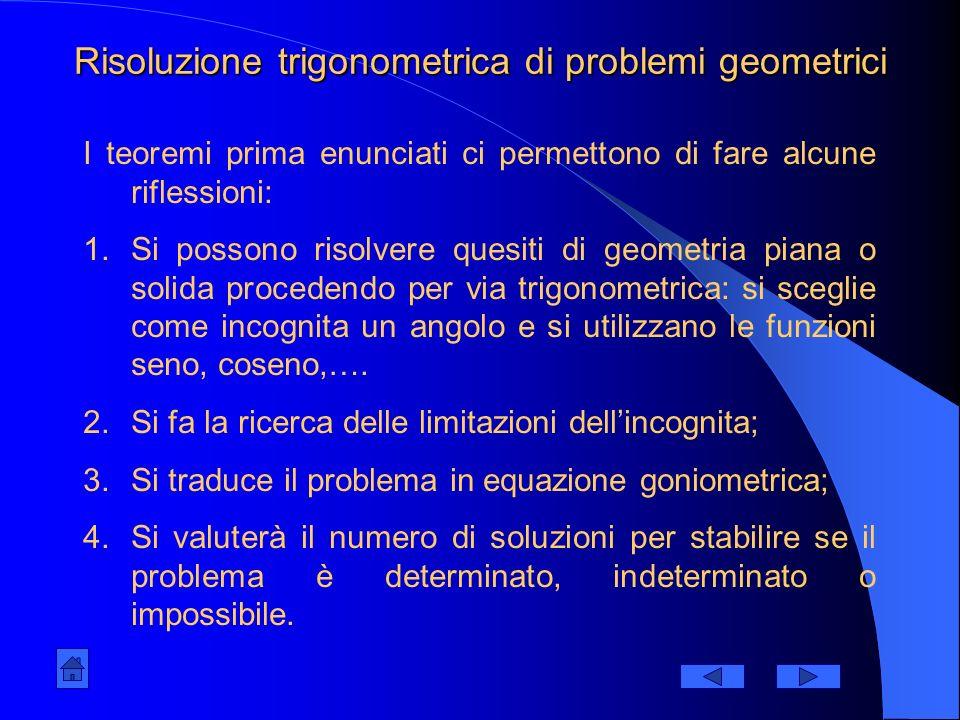 Risoluzione trigonometrica di problemi geometrici
