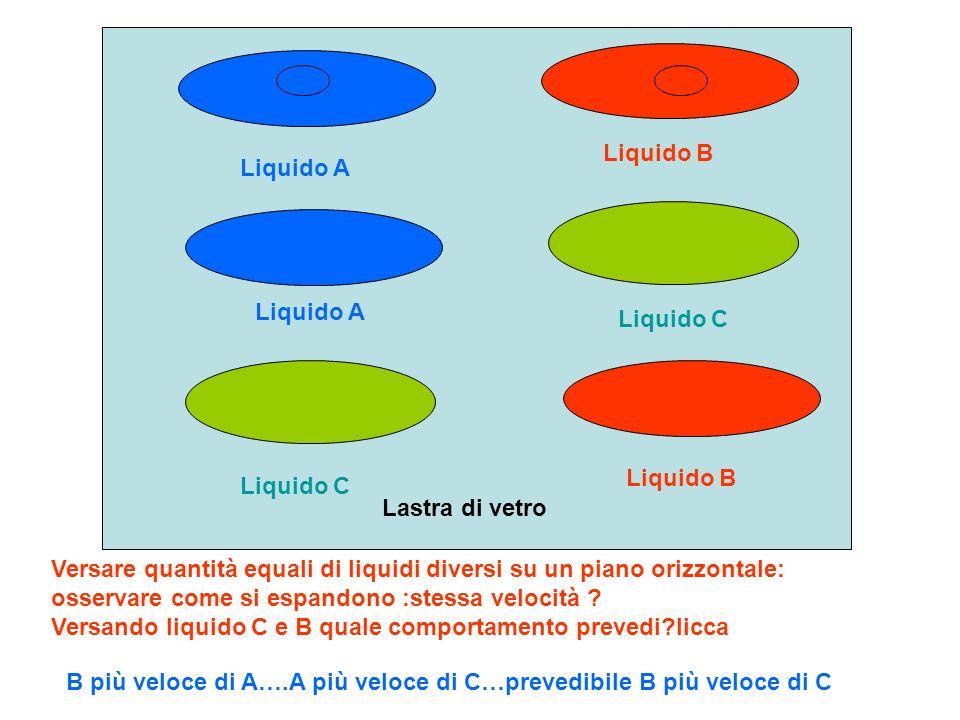 Liquido B Liquido A. Liquido A. Liquido C. Liquido B. Liquido C. Lastra di vetro.