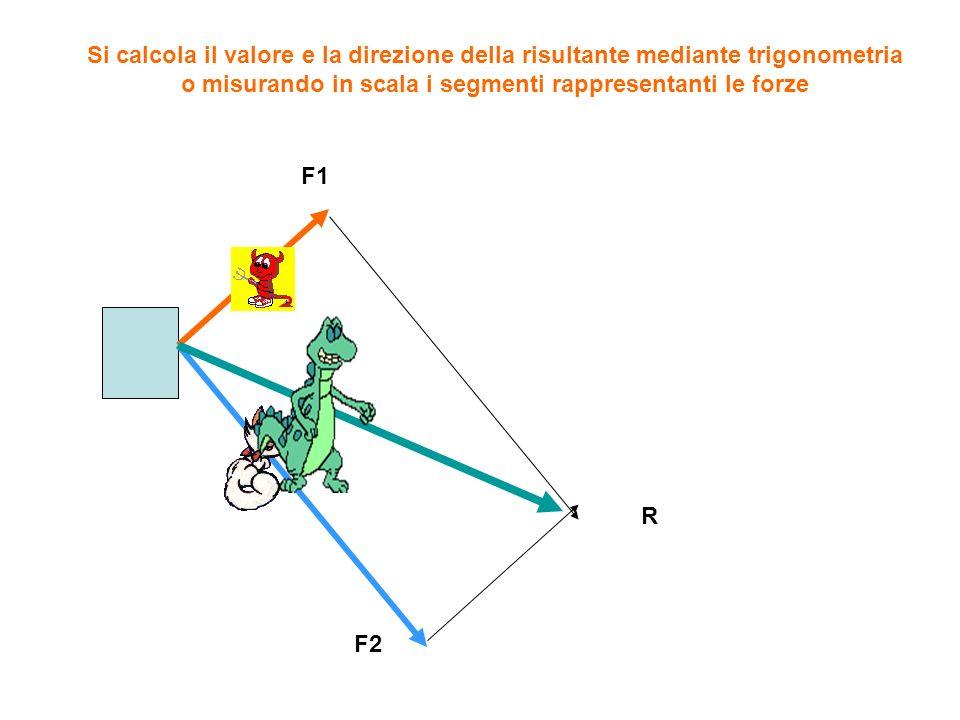Si calcola il valore e la direzione della risultante mediante trigonometria o misurando in scala i segmenti rappresentanti le forze