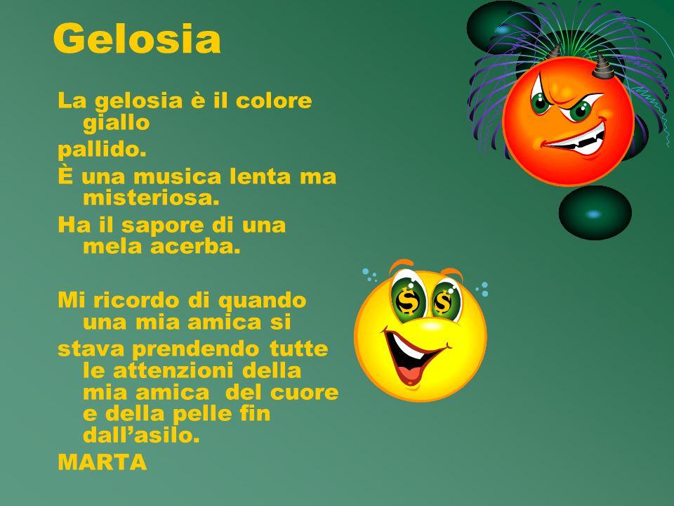 Gelosia La gelosia è il colore giallo pallido.