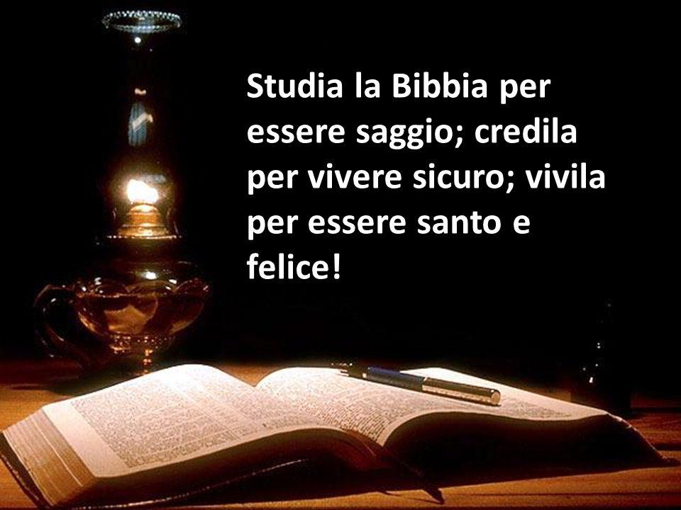 Studia la Bibbia per essere saggio; credila per vivere sicuro; vivila per essere santo e felice!