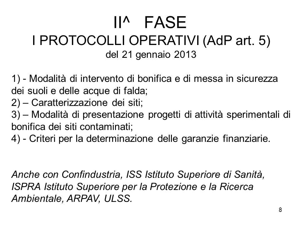 I PROTOCOLLI OPERATIVI (AdP art. 5)