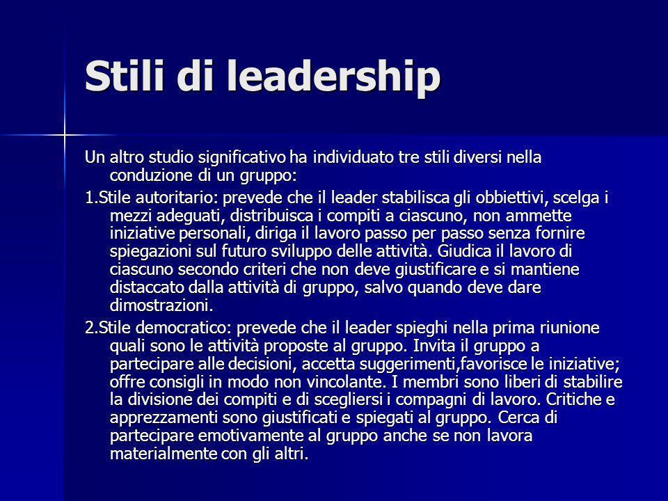 Stili di leadership Un altro studio significativo ha individuato tre stili diversi nella conduzione di un gruppo: