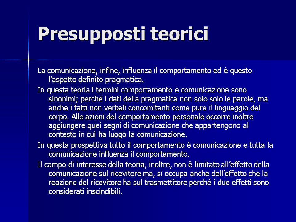 Presupposti teoriciLa comunicazione, infine, influenza il comportamento ed è questo l'aspetto definito pragmatica.