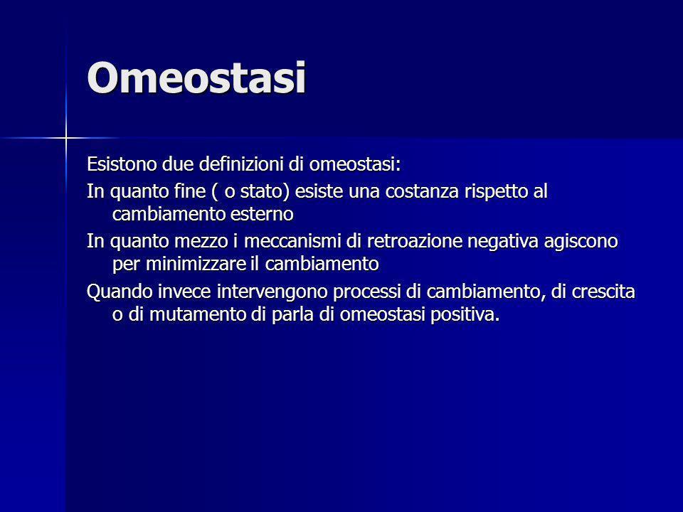 Omeostasi Esistono due definizioni di omeostasi: