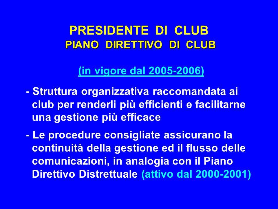 PRESIDENTE DI CLUB PIANO DIRETTIVO DI CLUB