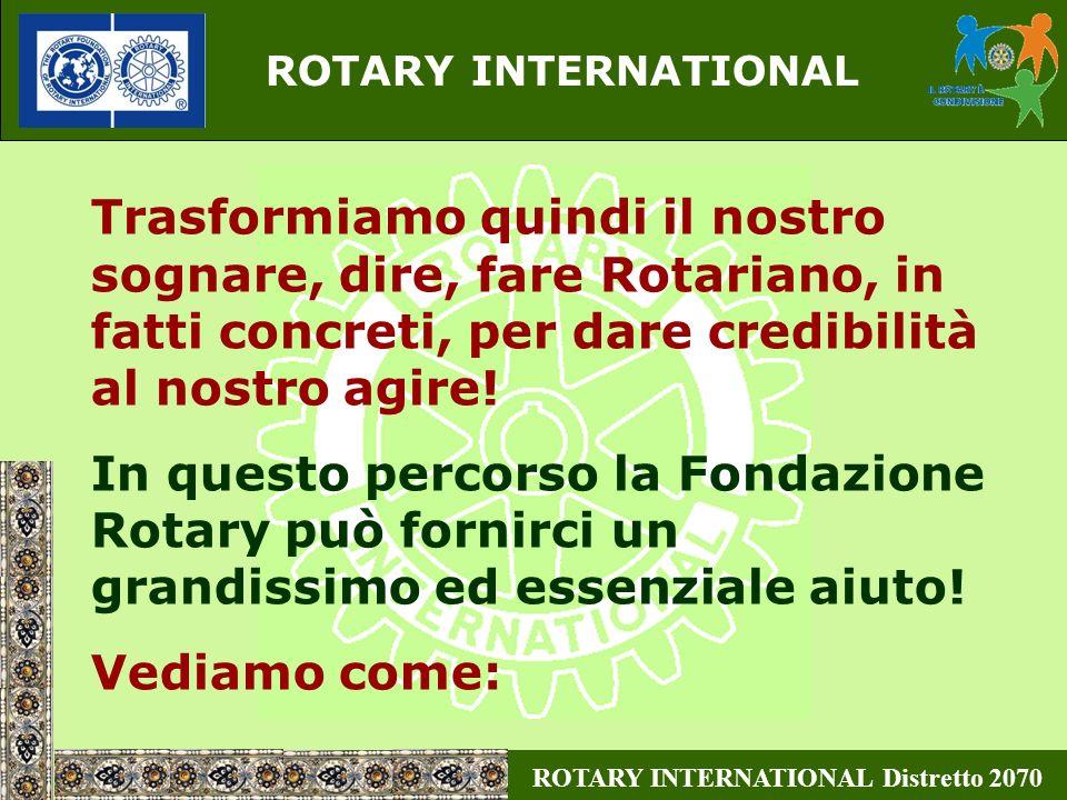 ROTARY INTERNATIONAL Trasformiamo quindi il nostro sognare, dire, fare Rotariano, in fatti concreti, per dare credibilità al nostro agire!