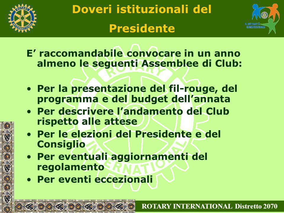 Doveri istituzionali del Presidente