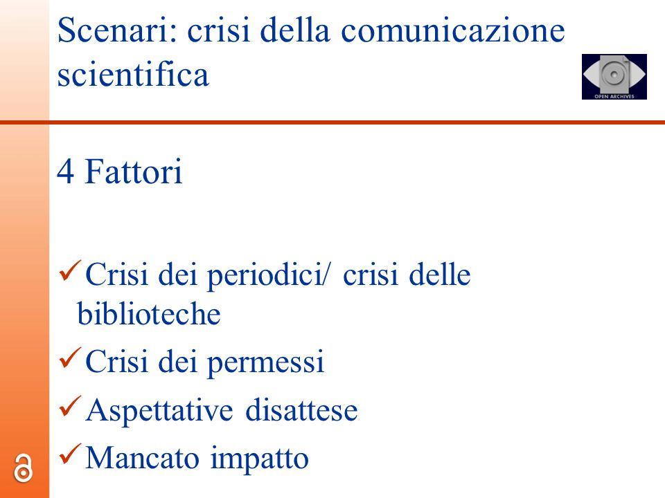Scenari: crisi della comunicazione scientifica