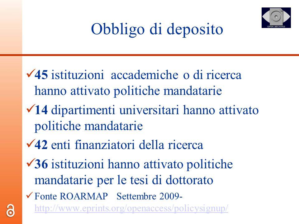 Obbligo di deposito 45 istituzioni accademiche o di ricerca hanno attivato politiche mandatarie.