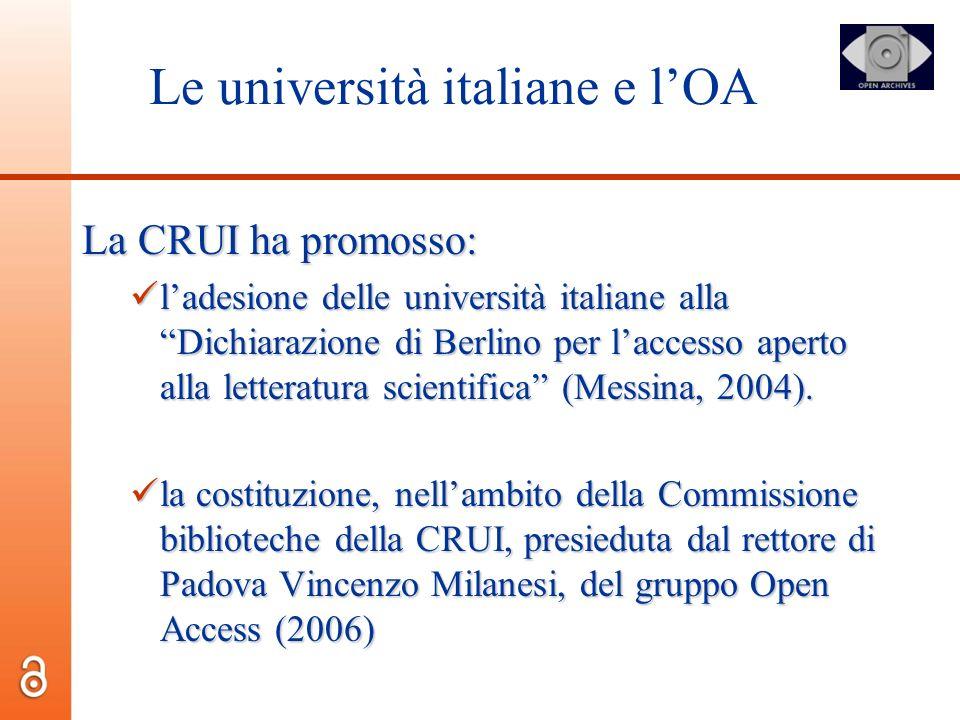 Le università italiane e l'OA