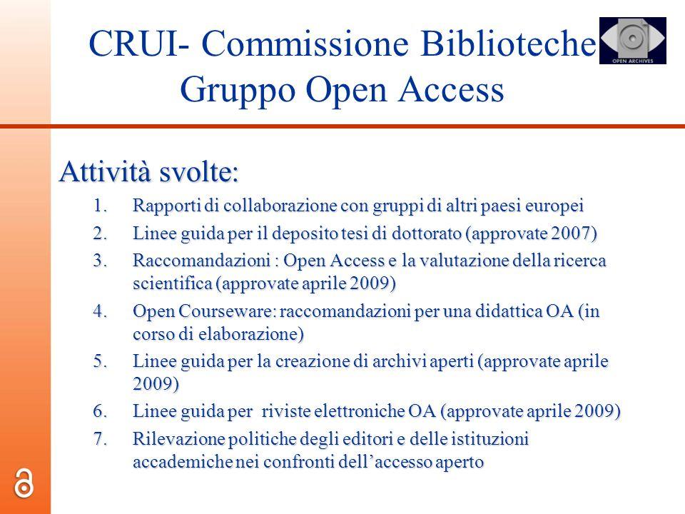 CRUI- Commissione Biblioteche Gruppo Open Access