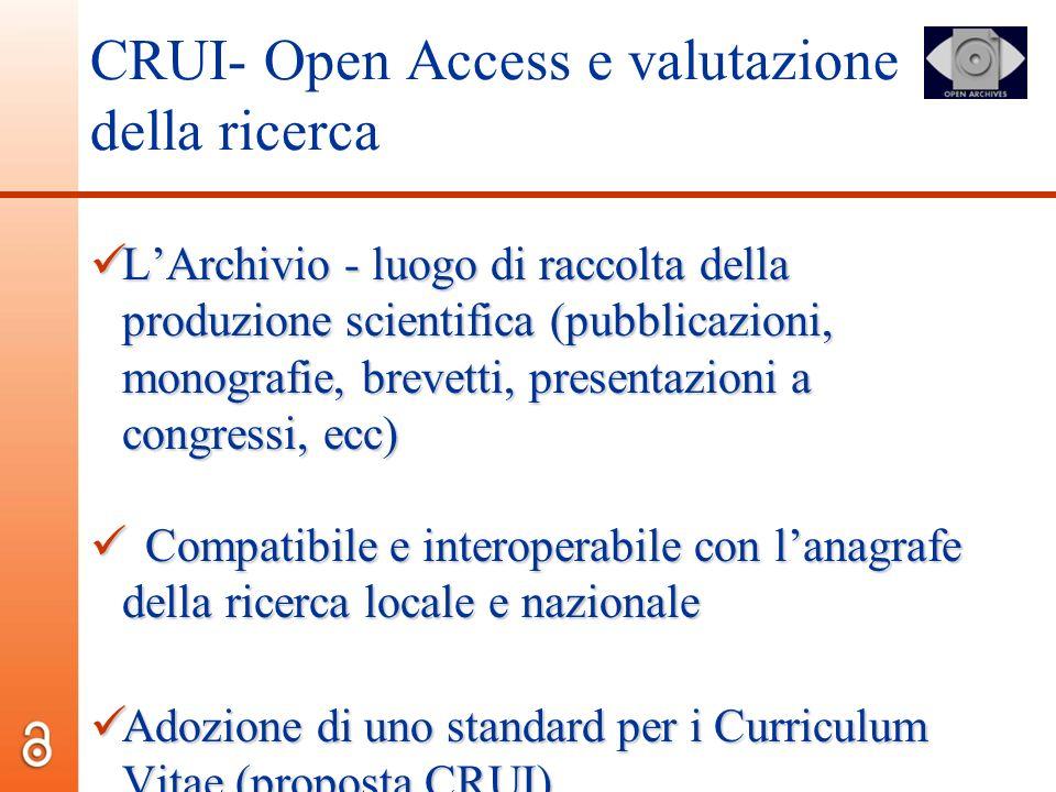 CRUI- Open Access e valutazione della ricerca