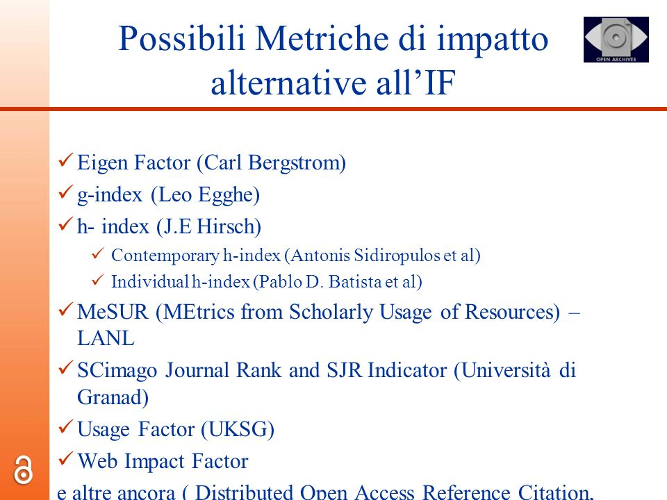 Possibili Metriche di impatto alternative all'IF