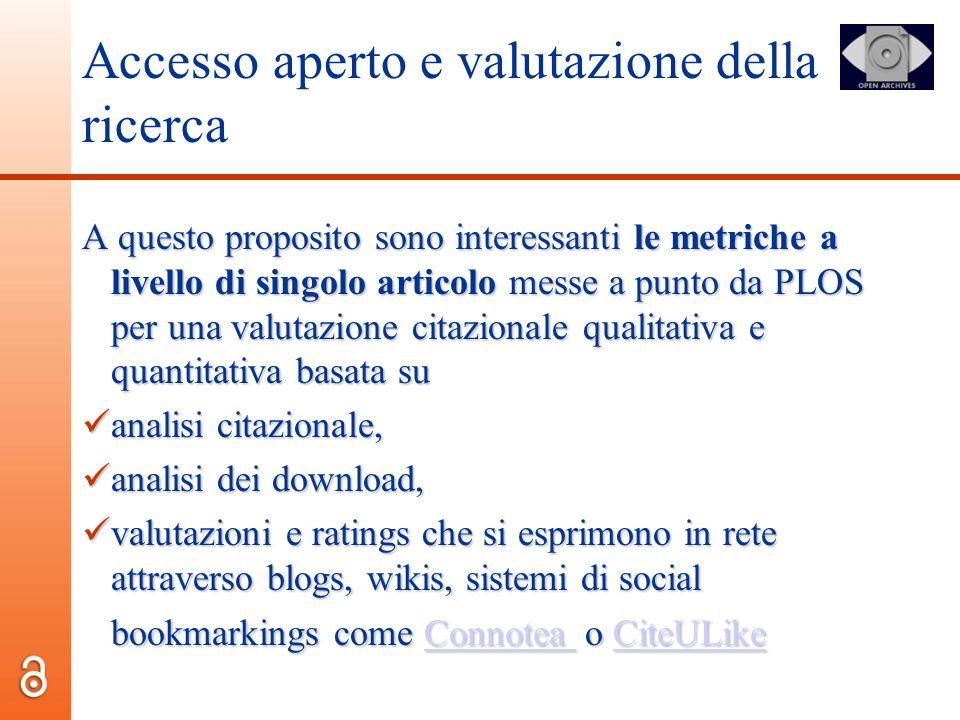 Accesso aperto e valutazione della ricerca