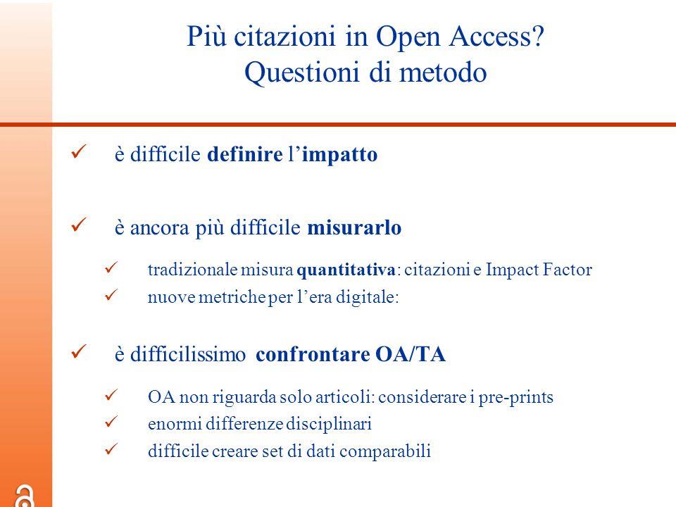Più citazioni in Open Access Questioni di metodo