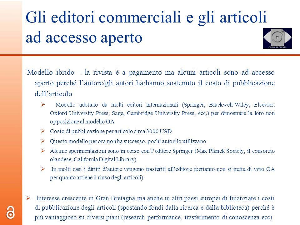 Gli editori commerciali e gli articoli ad accesso aperto