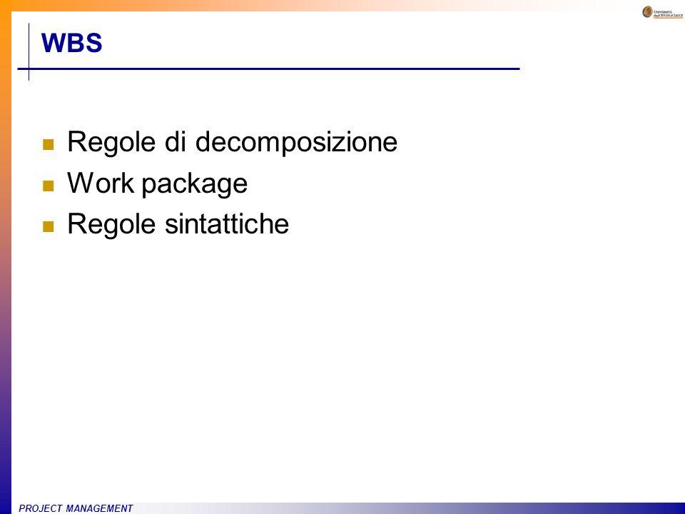 Regole di decomposizione Work package Regole sintattiche