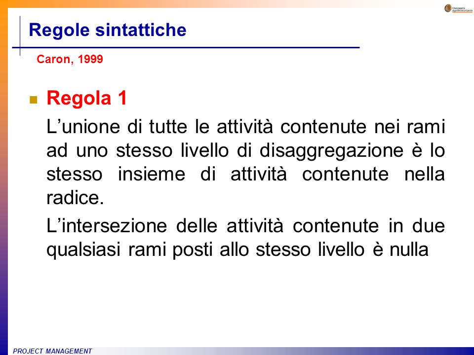 Regole sintatticheCaron, 1999. Regola 1.