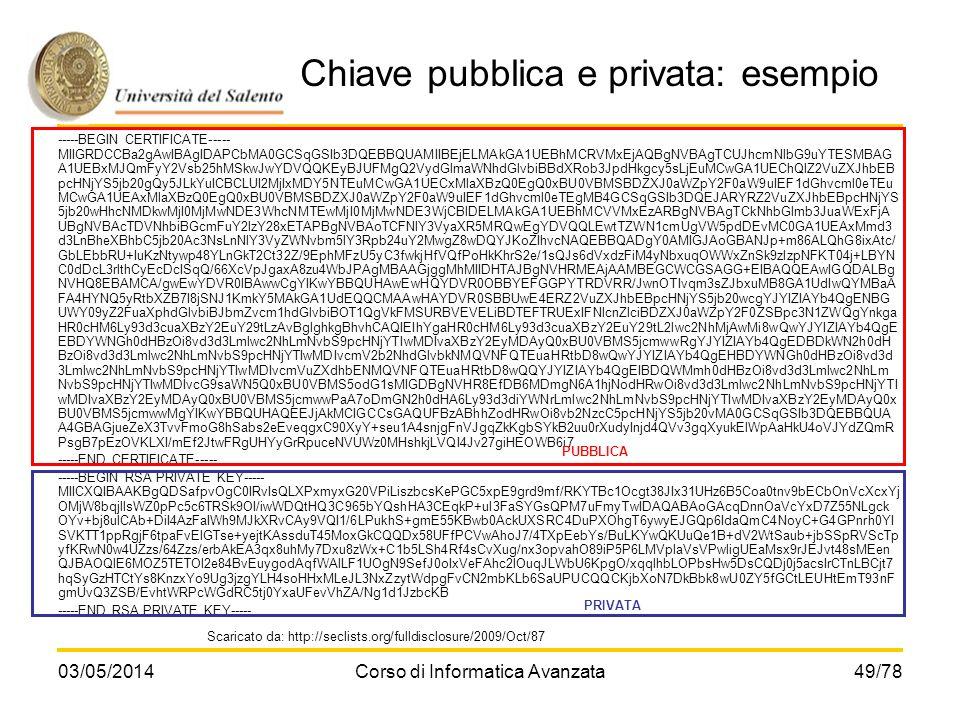 Chiave pubblica e privata: esempio