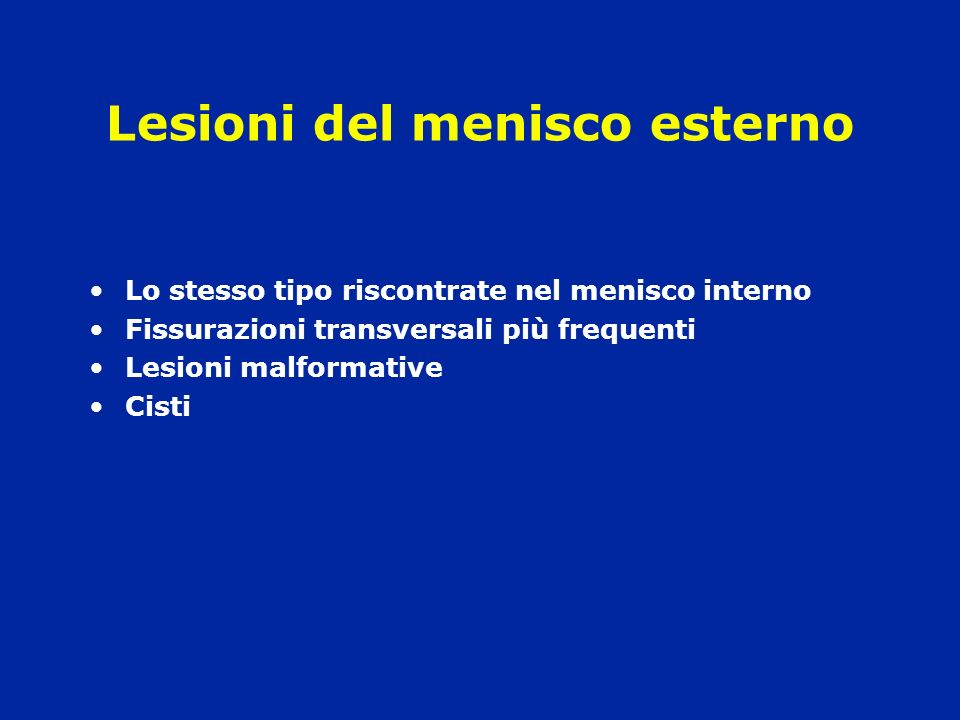 Lesioni del menisco esterno