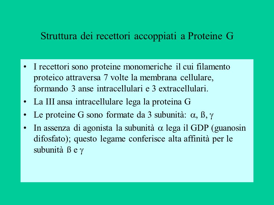 Struttura dei recettori accoppiati a Proteine G