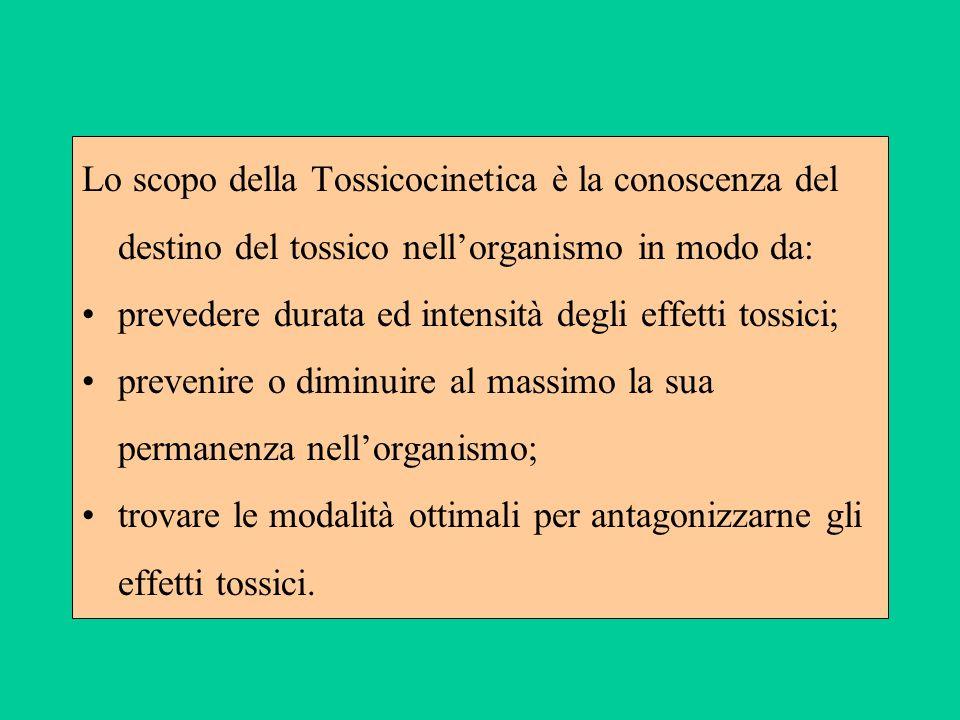 Lo scopo della Tossicocinetica è la conoscenza del destino del tossico nell'organismo in modo da:
