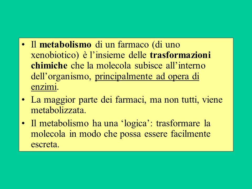 Il metabolismo di un farmaco (di uno xenobiotico) è l'insieme delle trasformazioni chimiche che la molecola subisce all'interno dell'organismo, principalmente ad opera di enzimi.