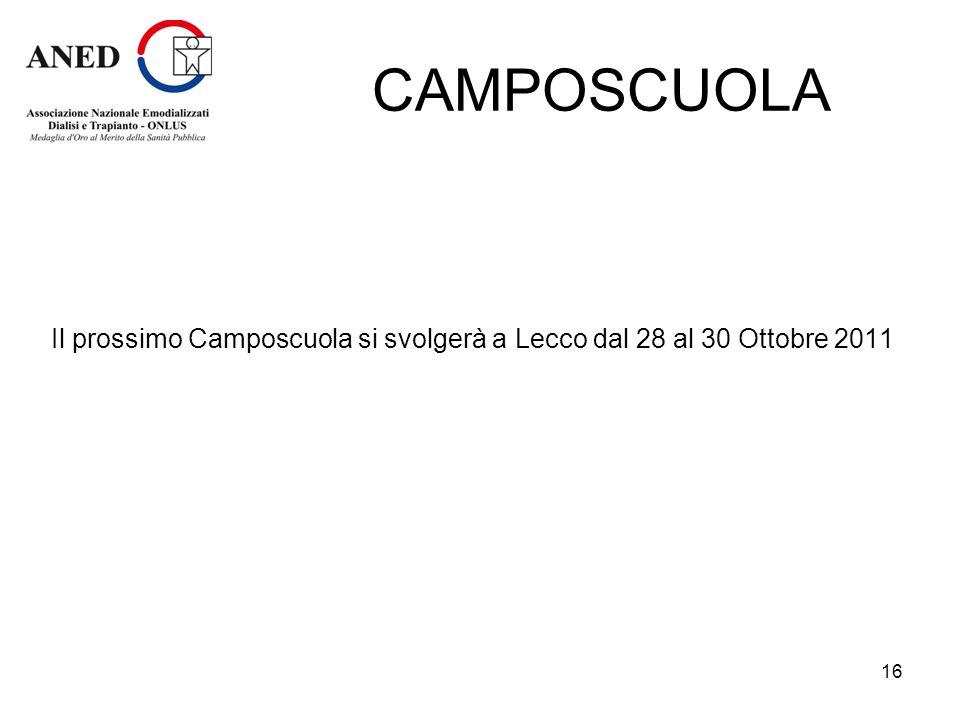 CAMPOSCUOLA Il prossimo Camposcuola si svolgerà a Lecco dal 28 al 30 Ottobre 2011