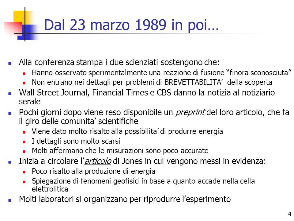 Dal 23 marzo 1989 in poi… Alla conferenza stampa i due scienziati sostengono che: