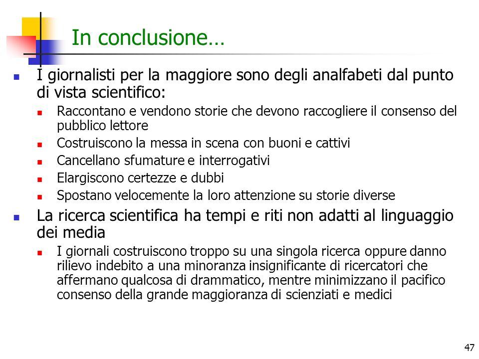 In conclusione… I giornalisti per la maggiore sono degli analfabeti dal punto di vista scientifico: