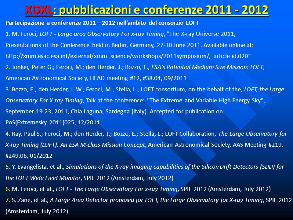 XDXL: pubblicazioni e conferenze 2011 - 2012